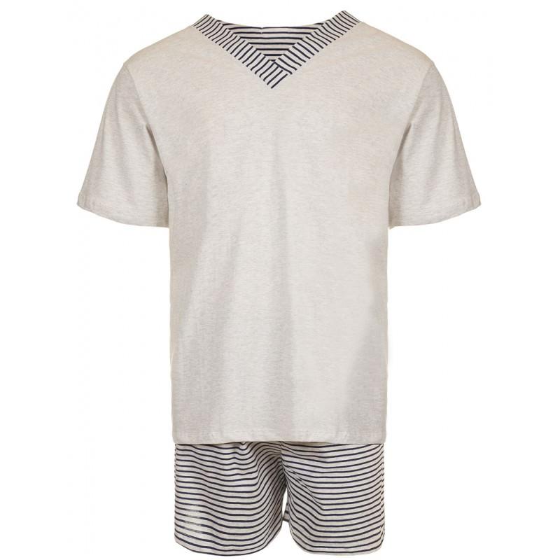 Conjunto de pijama masculino, camiseta branca com gola v e shorts cinza com listras brancas