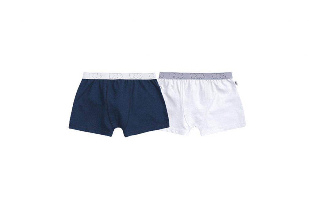 Cueca boxer infantil branca e azul marinho
