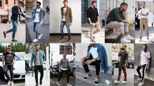 Calça jeans, de sarja bege, preta e de moletom masculina.