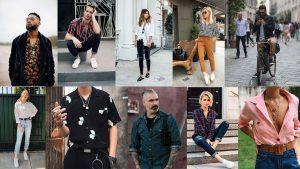 Camisas femininas e masculinas para usar no inverno. Tons mais escuros e estampas mais sóbrias.